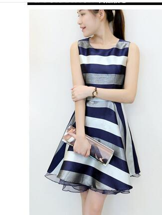 49827a413cd5 1pcs lot free shipping korean style woman casual stripe dress chiffon o  neck dress sleeveless straight cute dress summer dress-in Dresses from  Women s ...