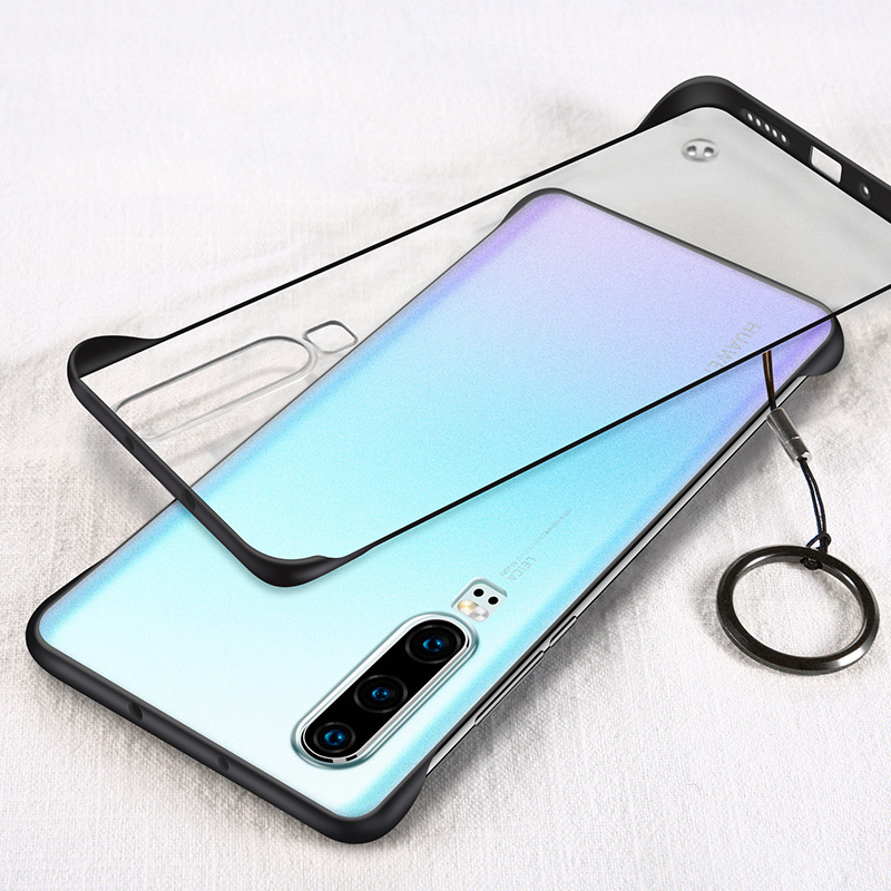 OUDNEAS Transparent for Huawei P30 Pro Case Frameless Design Phone Coque Cases with Strap P20