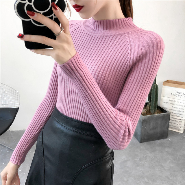 Sueter mujer invierno 2019 Spring Autumn Women Pullover Sweaters Turtleneck  Long Sleeve Sexy Slim Knitted Winter 54f8f6390