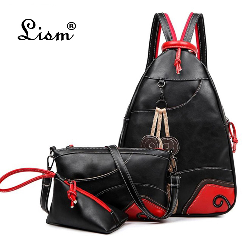 2018 NEW Vintage Fashion Leaf Sewing Shoulder Backpack Three Sets Multifunction Chest Women Leather Backpacks Designers