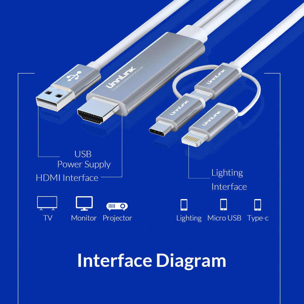Unnlink USB untuk HDMI Cermin Cast Mengkonversi Kabel dengan Audio MHL untuk Iphone Ipad Lampu Ponsel Android MICRO USB Tipe C untuk HDMI