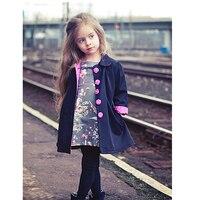 Euramerican Style Girls Jackets Cute Baby Girls Fashion Manteau Spring Autumn Long Sleeve Children Coat For