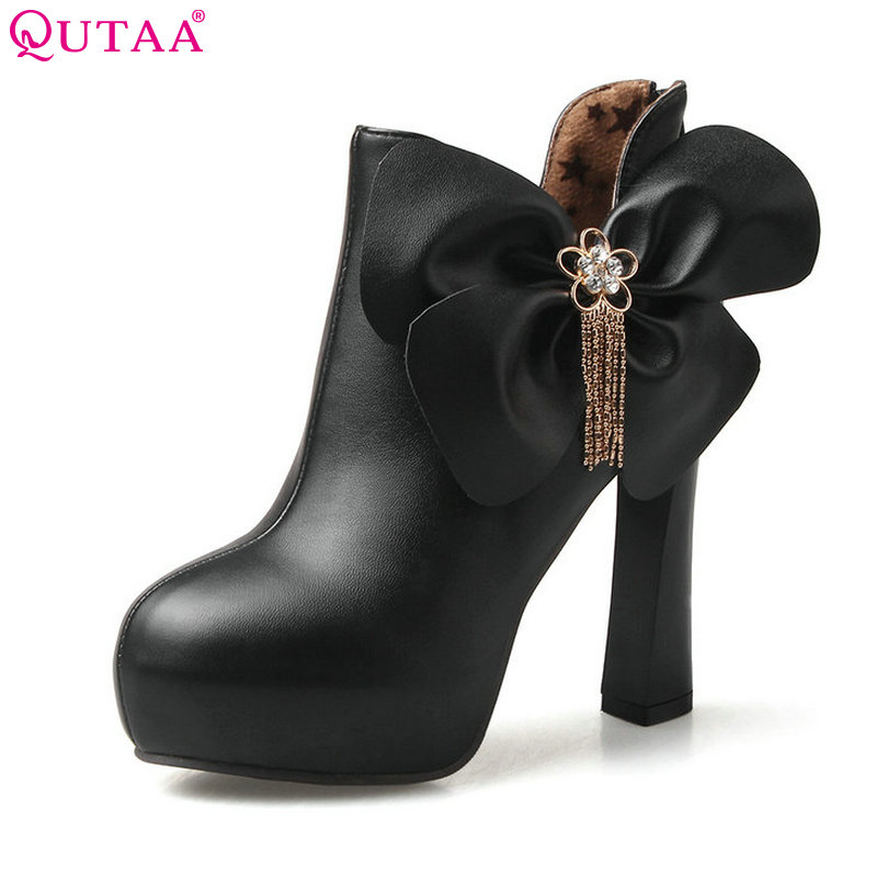 e101b52f4823 QUTAA Elegant Black Autumn 2016 Women Shoes Square High Heel Ankle Boots  Bow Tie Women Motorcycle Boots Size 34-43