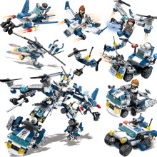 663pcs Military Series 8in1 Trucks Car Tank plane Building Blocks Compatible city Firefighter children Toys