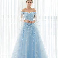Luxury Light Blue Tulle Off the Shoulder Short Sleeve with Jacket Chapel Train Ball Gown Beaded Appliques Long Wedding Dresses