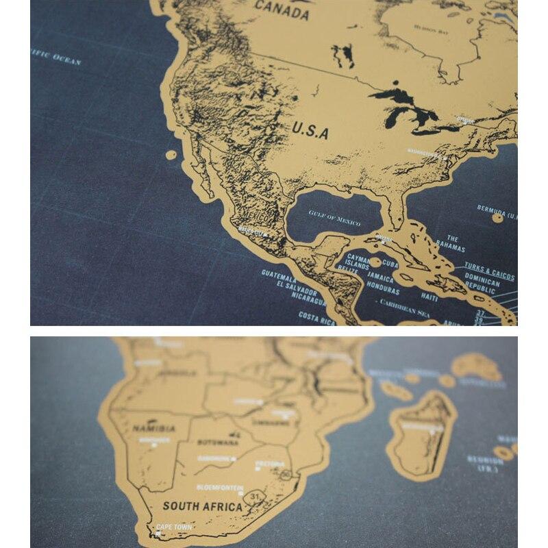 Wonderbaarlijk Black Scratch Off Map Deco Deluxe Retro World Map Scratches WX-64