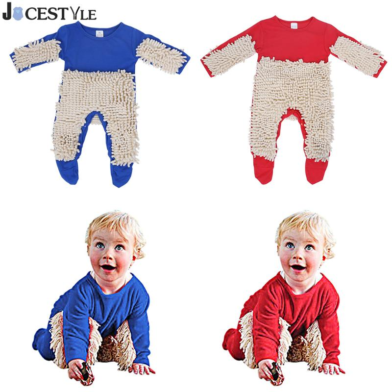 6-24M Newborn Kids Baby Boys Girls Mop Clothes Long Sleeve Swob Romper Jumpsuit Outfit Winter Toddler Boy Girl Clothing fashion 2pcs set newborn baby girls jumpsuit toddler girls flower pattern outfit clothes romper bodysuit pants