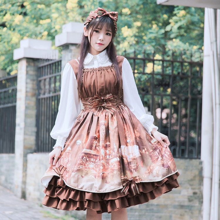 2018 весеннее Новое Женское Платье Лолиты АО паровой Замок платье с принтом Винтаж женское платье 0583