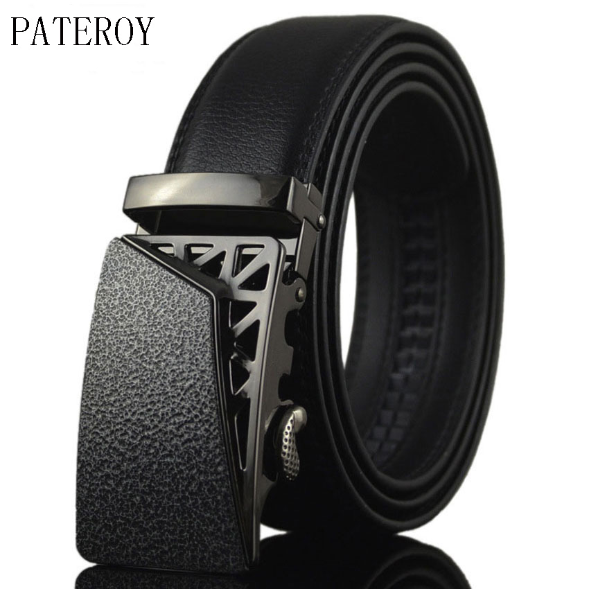[PATEROY] Kožený opasek Pánské značkové pásy Cinturony Hombre Dospělý Formální Geometrická Kovová kovová automatická přezka Ceinture Homme