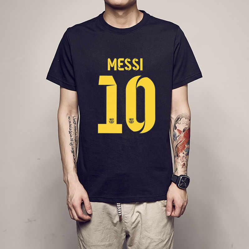 2754ff389 ajax 2018 2019 summer Black cotton Barcelona MESSI Men t-shirt tops Man  casual short
