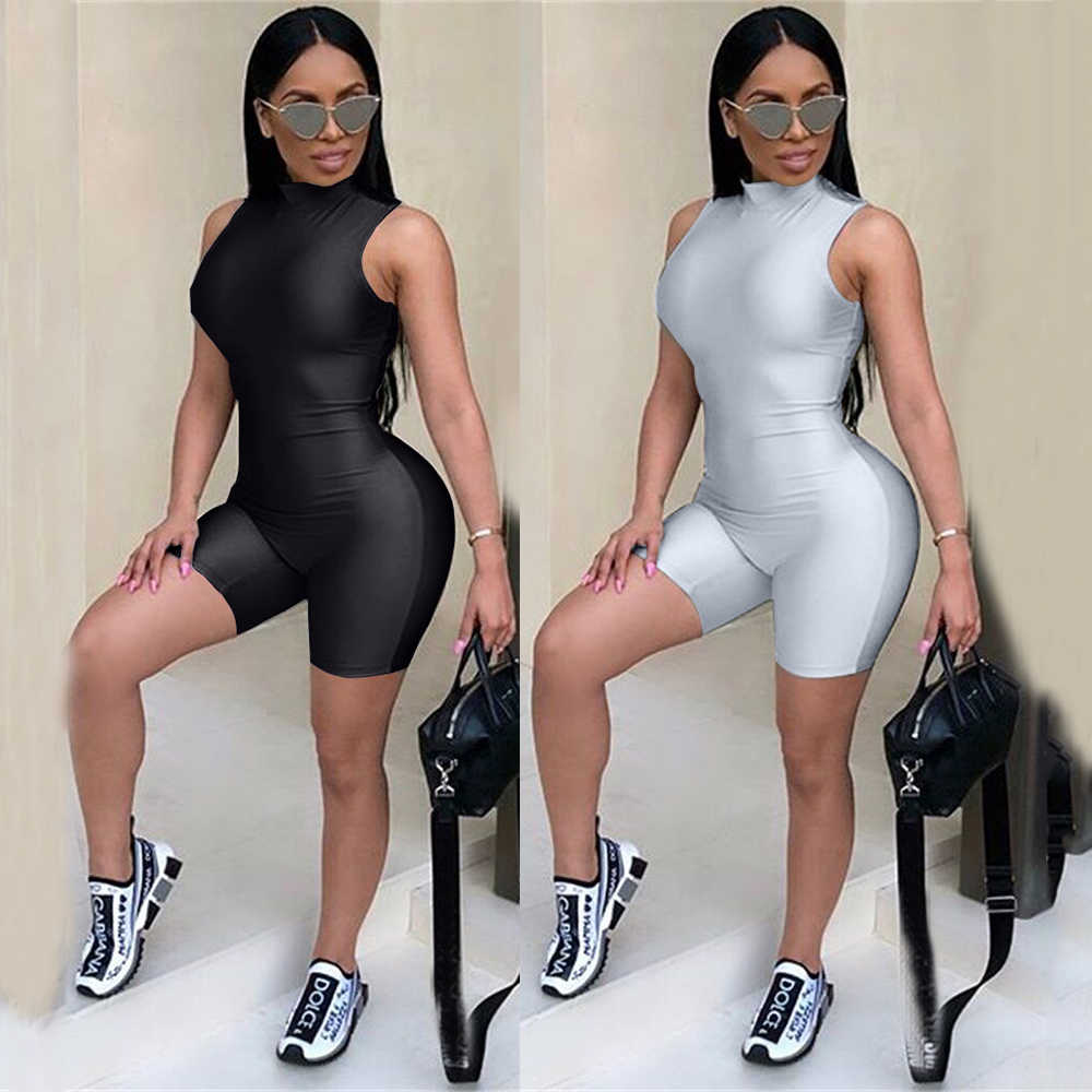 fb1341b45940 Sexy Bodycon Jumpsuits Short Summer for Women Bodysuit 2018 Black Bodysuit  Rompers F0269 Summer Overalls Gray