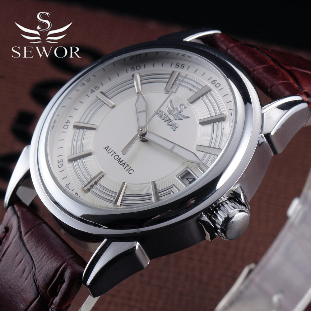 2016 Top Sewor Automatic Mechanical Men Clock Retro Steel Case Classic Auto Date Dial Leather Strap Formal Dress Wrist Watches sewor classic hollow dial clock fast