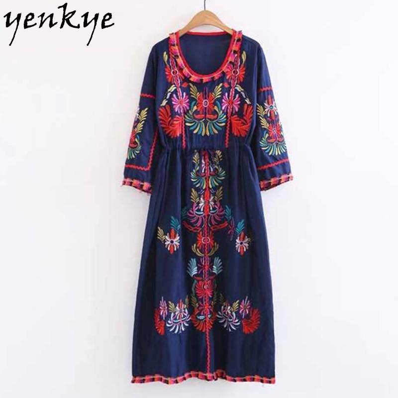 Summer 2017 Vintage Ethnic Embroidery Dress Women O Neck Long Sleeve Drawstring Waist Casual Long Dress robe longue SDP8292 summer embroidery ruffled round neck dress loose robe dress