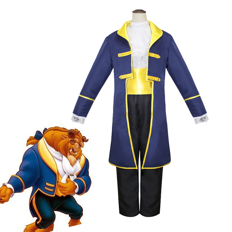 Cartoon Movie Beauty and the Beast Prince Adam Cosplay Costume Fantasy Halloween Carnival Unifroms Men's Formal Suit Custom Made