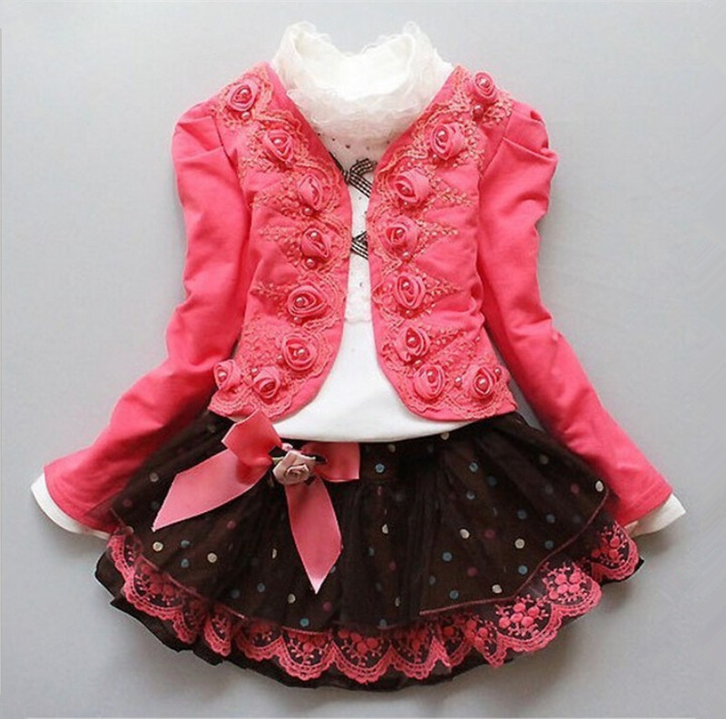 2016 fashion children clothing for kids flower outfits sets girl 3 piece Princess lace ruffle cardigan tops tutu skirts suits ins princess girl clothings sets flare sleeve tops