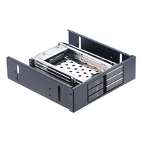 Aluminum 3 Bay 2.5in Tray less SATA ROM Space hard case rack to 5.25 backplane Internal hdd mobile rack