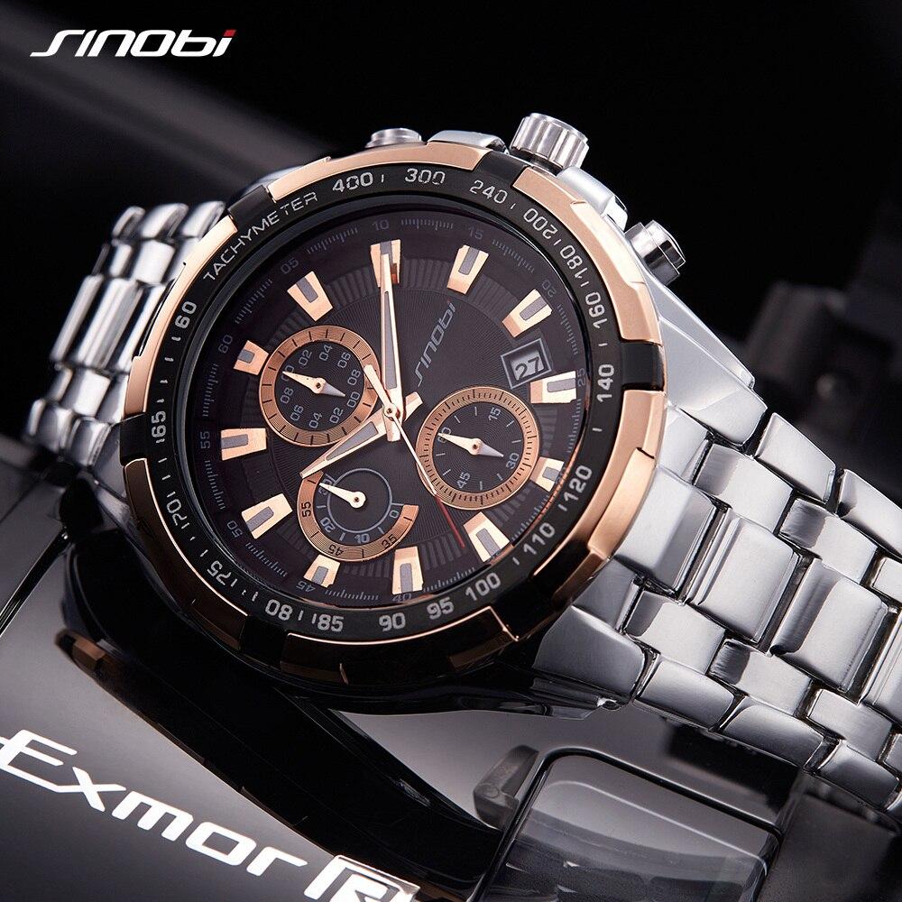 SINOBI Men Watches 2018 Luxury Brand Stainless Steel relogio masculino Waterproof Sport Wrist Watch Wristwatch Male Clock xfcs