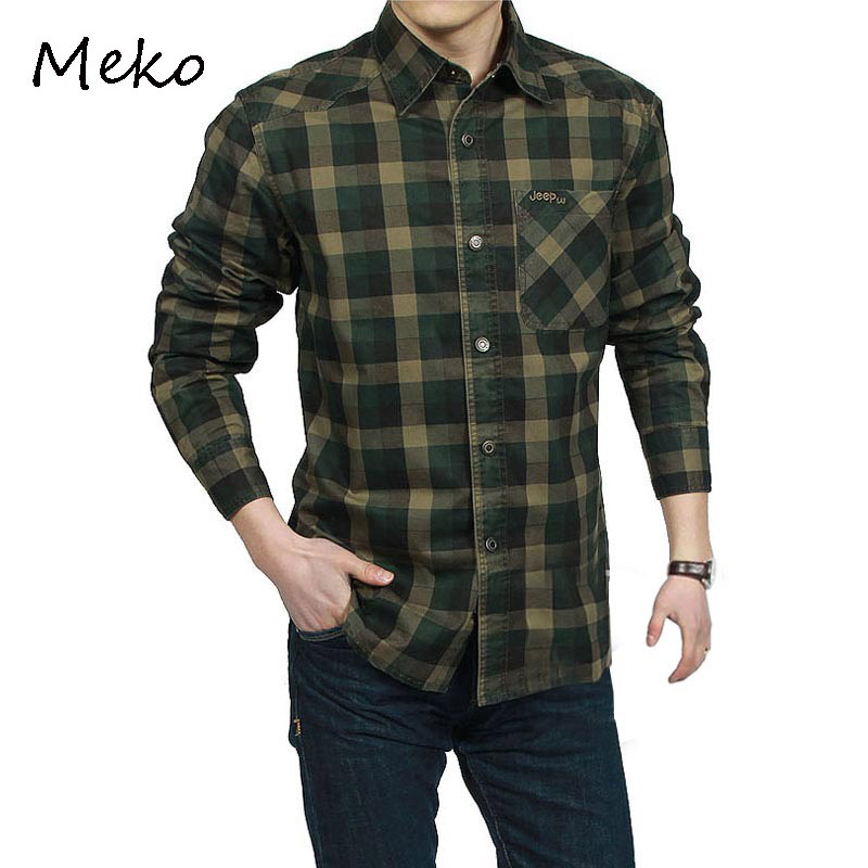 Camisas De Cuadros Hombres Army Green,khaki 100% Cotton Plaid Shirt Mens Formal