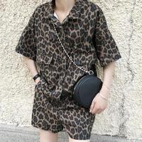 women's new casual pants short sleeved lapel leopard jumpsuit loose shorts