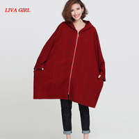 2017 Plus Size Jacket Women Winter Cotton Basic Coat Solid Fashion Batwing Sleeve Loose Autumn Casual