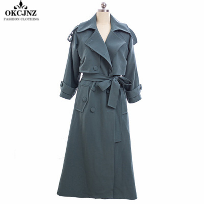 Spring Autumn Women   Trench   Coat Korean Pure Color Temperament Long Section Windbreaker Double-breasted Ladies Outerwear X0372
