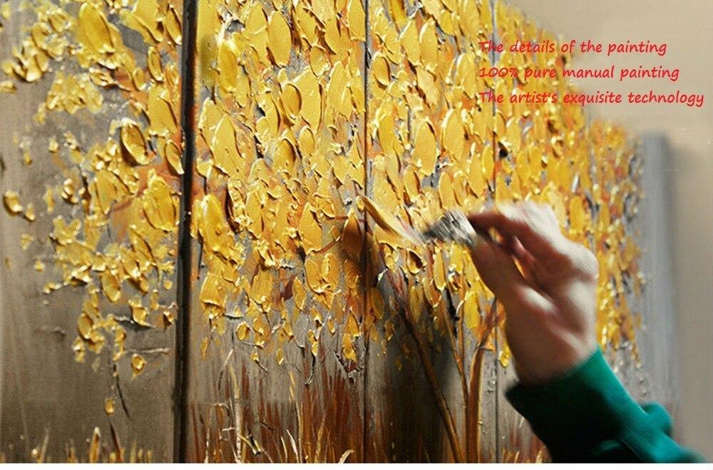 Aliexpress.com Comprar Nuevo 2016 200% de oro pintado a mano otoño plata rico árbol arte decoración salón pintura al óleo sobre lienzo de pared 91815801C