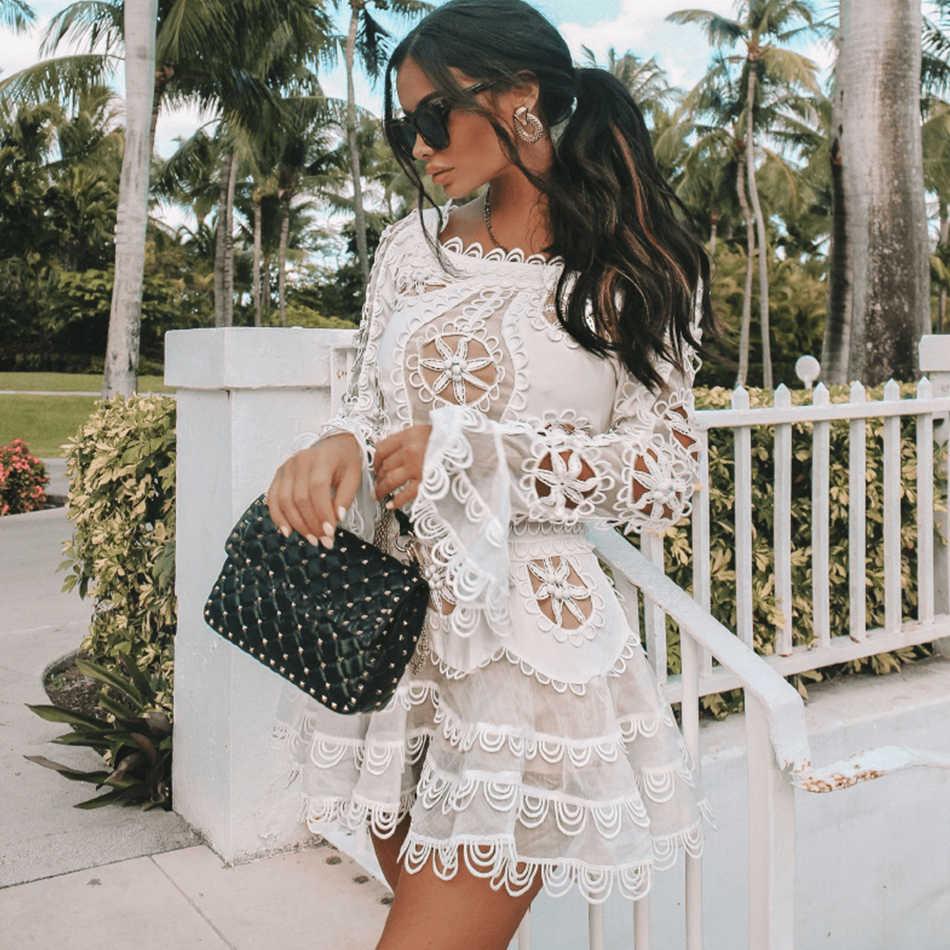 Новые Вечерние платья знаменитостей женское белое платье с открытыми плечами с расклешенными рукавами для подиума Сексуальное мини кружевное платье для ночного клуба женское платье Vestidos