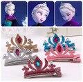 1 pc! Animados Elsa princesa Barrette meninas grampos de cabelo Anna & Elsa de aniversário Crown HairPin crianças colorido lantejoulas headwear Tiara