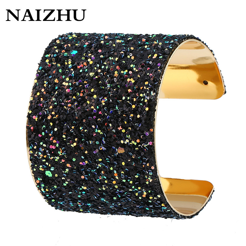 Charm punk Width open cuff bracelets bangles for women 2017 full Sequins  shine pulseiras sexy bracelet femme accessories-in Bangles from Jewelry ... 291c03351a5b