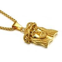 Hip hop or couleur jésus pièce tête visage pendentifs colliers titanium acier inoxydable chaîne collier pour hommes bijoux christian