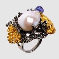Vintage natural pearl golden black Ring
