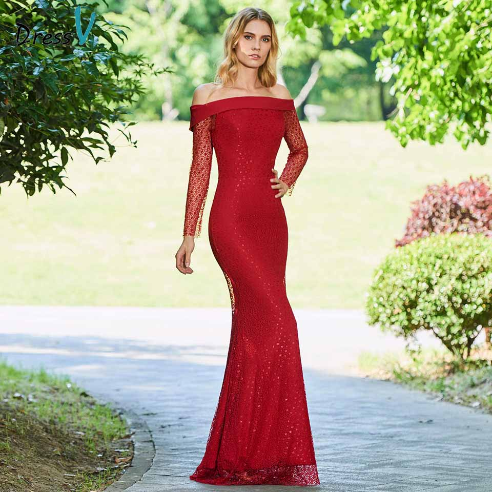 Dressv Mother Of Bride Dress Off The Shoulder Mermaid Long Sleeves Lace Trumpet Long Mother Evening Gown Dresses Custom