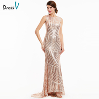 Dressv Champagne Sequins Long Evening Dress 2017 Cheap Mermaid Sleeveless Backless Formal Party Dress Sweep Evening