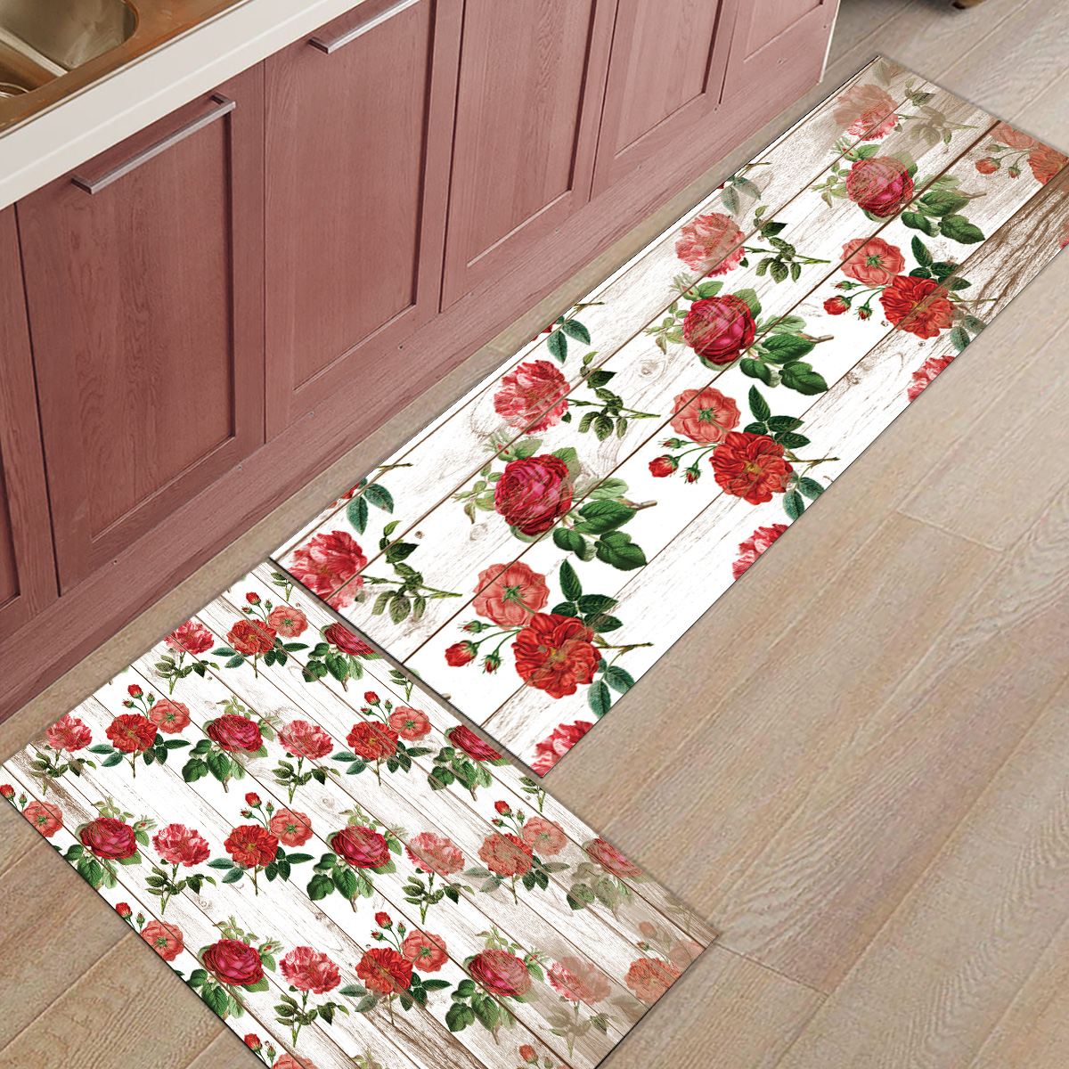 2 pièces cuisine tapis et tapis ensemble moderne Vintage Rose fleur maison Deocr antidérapant zone coureur paillassons tapis
