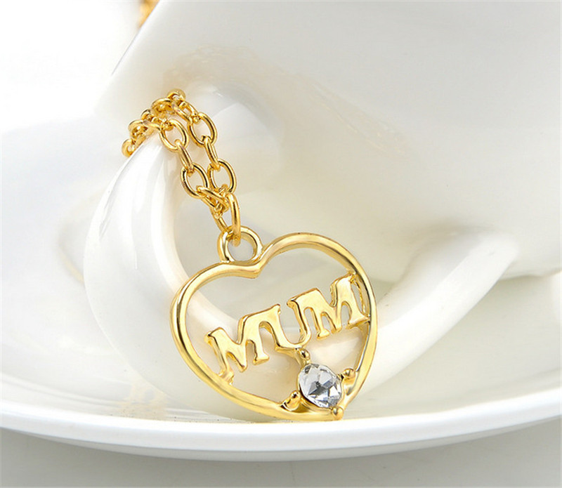 "ZN 2019 Gold Color Love ""Mum"" Crystal Heart Pendant Necklace Mother's Day Gifts for mother Sweater Chain Necklaces Best Gifts 32"