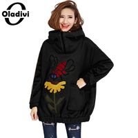 Oladivi 2017 Autumn Winter Tracksuit For Women Hoody Jacket Thicken Velvet Sweatshirt National Wind Hoodies Top