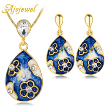 hot deal buy ajojewel beautiful enamel flower fashion jewelry sets womens accessories rhinestone earrings necklace set golden jewellery