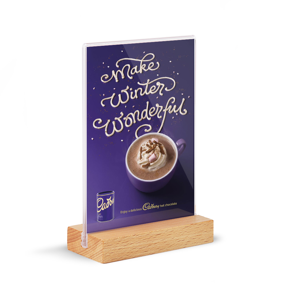 A4A5A6 Solid Wood Base Acrylic Sign Holder Double Sided POS Retail Frame Counter Top Poster Information Menu Holder