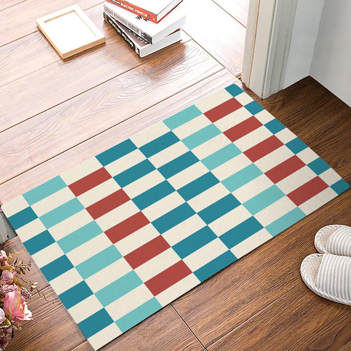 Blue And Orange Geometry Color Blocked Door Mats Kitchen Floor Bath ...