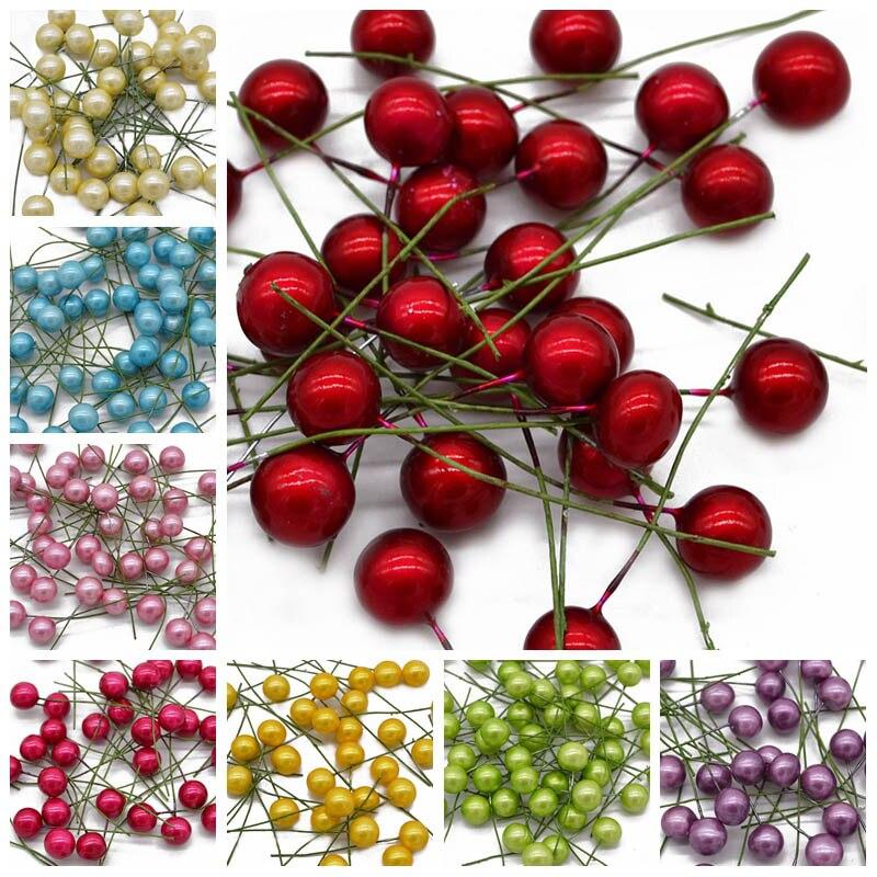 100 шт./лот мини тычинки цветок маленькие ягоды жемчуг бусины Рукодельный подарок «сделай сам» коробка украшения Рождество Свадебная вечеринка поставки