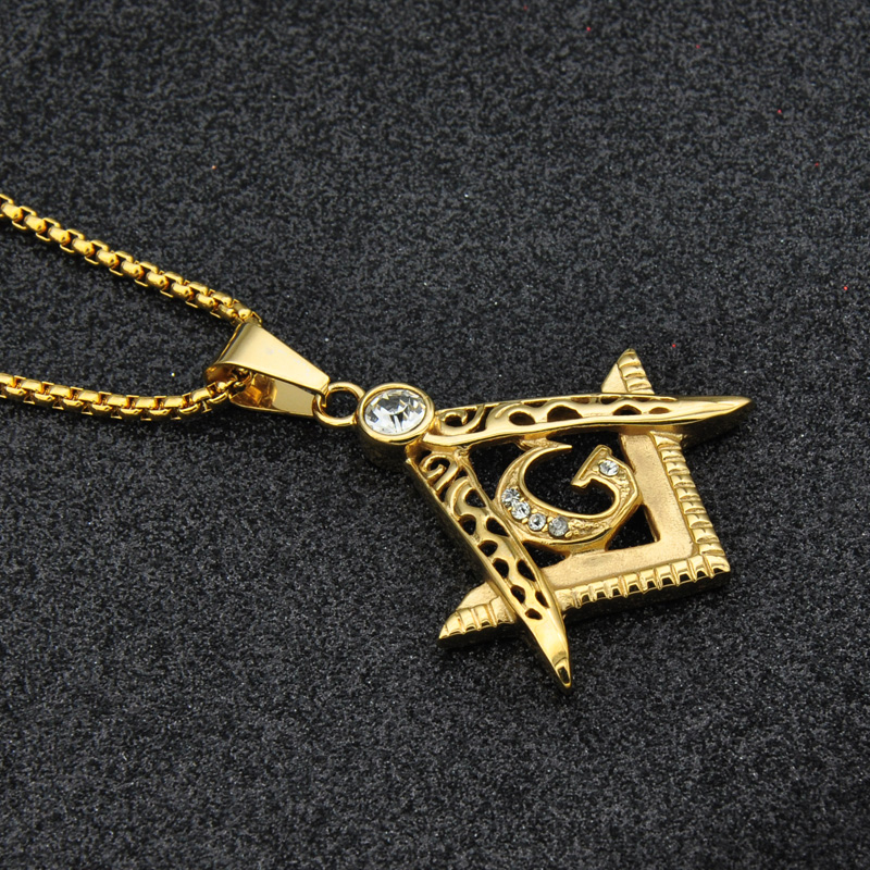 Aliexpress buy us7 bling bling gold freemasonry masonic aliexpress buy us7 bling bling gold freemasonry masonic pendants necklaces stainless steel chain crystal necklace for men hip hop jewelry from aloadofball Gallery