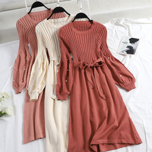 2018 winter new female O-neck beading lantern sleeve knitted bottoming dresses women solid color elegant A-line sweater dress
