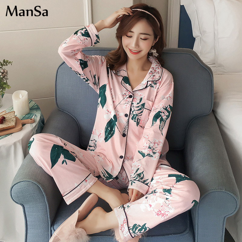 new spring Women Pyjamas Clothing Long Tops   Set   Female   Pajamas     Sets   NightSuit pink Sleepwear   Set   Leisure Women pijamas Home Wear