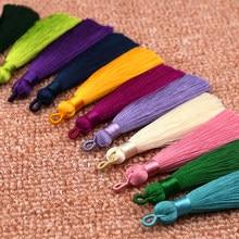 Mibrow cordão de borla multicolorido, corda de algodão com 5, pçs/lote, 8cm de comprimento, multicolor, de seda, para brincos, pingente de cetim, jóias diy fazer