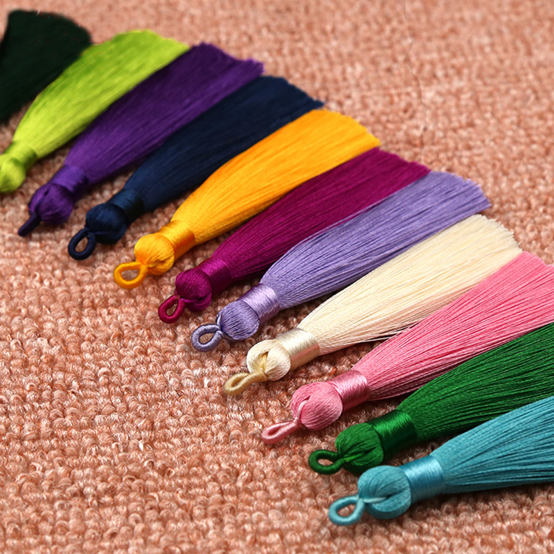 Mibrow 5pcs/lot 8cm Long Multicolor Cotton Silk Tassel Cords Brush For Earrings Charm Pendant Satin Tassel DIY Jewelry Making