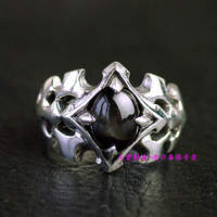Thailand jewelry men rings star stone 925 silver inlaid silver ring