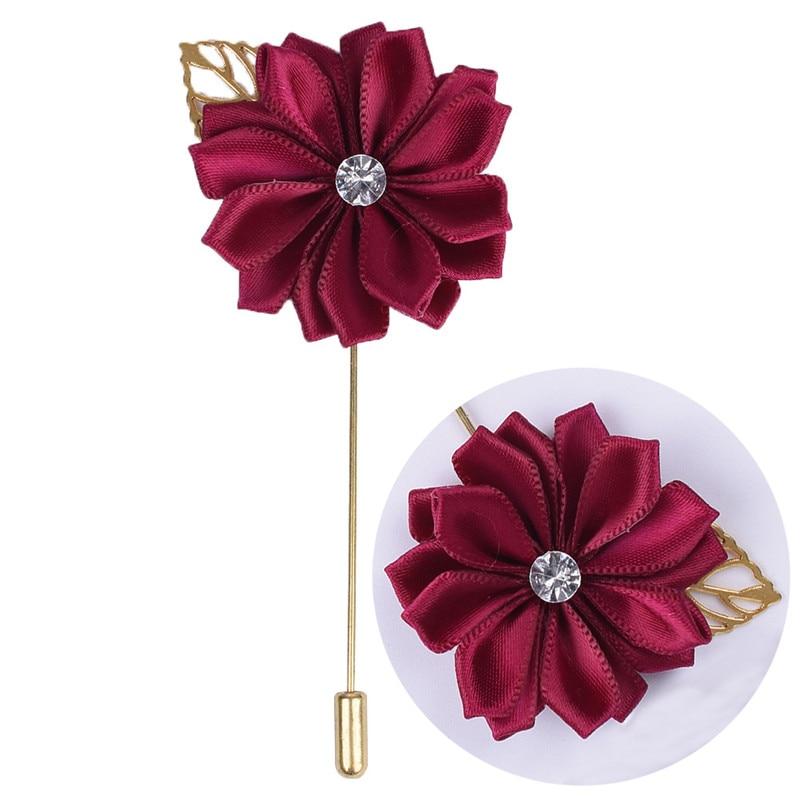 Metal Golden Leaf Groom Boutonniere Silk Satin Rose Flower Brooch Groom Men Wedding Accessories Prom Man Suit Corsage Pin XH889Z