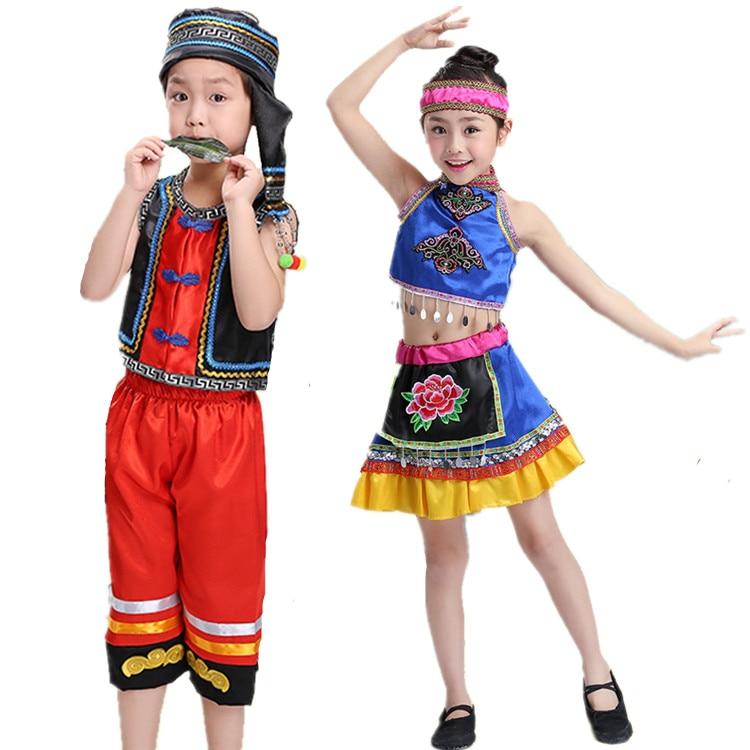 Free Shipping Ethnic Minorities Miao Zhuang Yi Traditional Chinese Dance Costumes Folk Dancing Clothes for Children Boys Girls