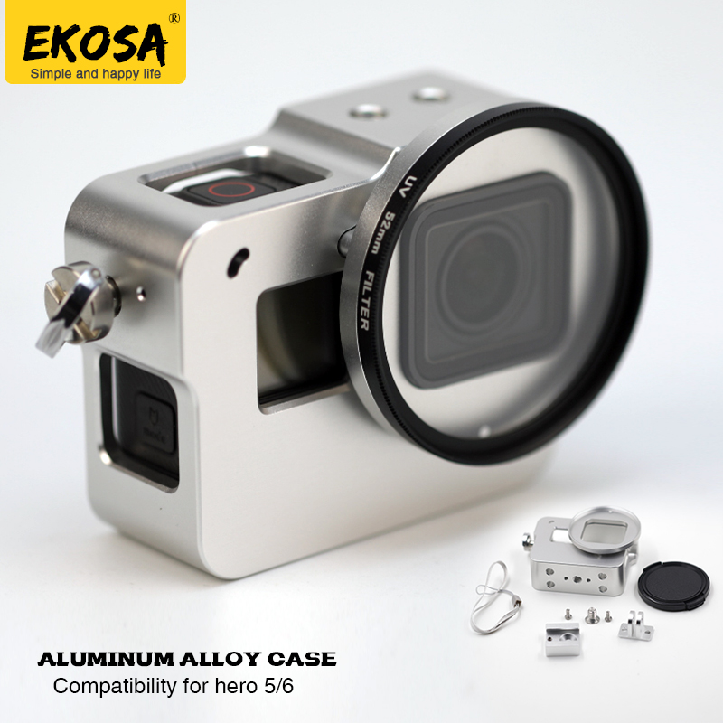 EKOSA Aluminum Case For GoPro Hero 5 6 Action Camera CNC Protective Frame House Lens Cover UV For Go Pro Hero 5 6 Accessories high precision cnc aluminum alloy lens strap ring for gopro hero 3 red