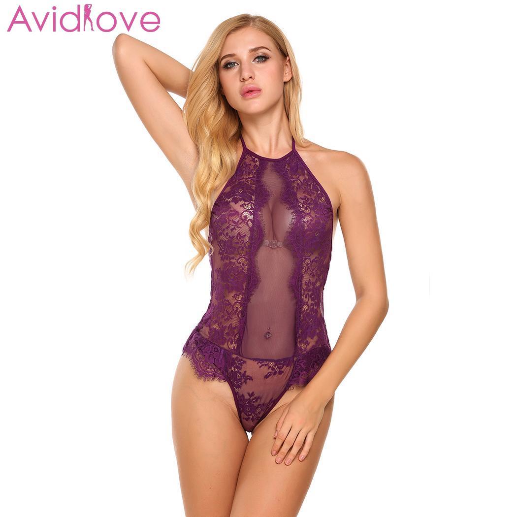 Avidlove Sexy Bodysuit Sleepwear Babydoll Women Bodysuit Halter Nightwear Sexy Floral Sleeveless See-through Erotic Underwear